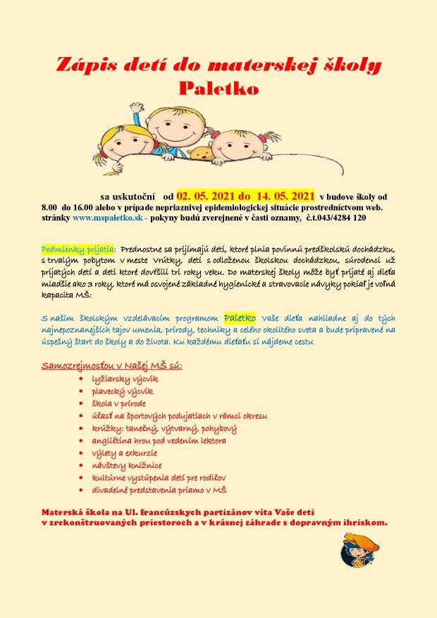 Zápis deti do materskej śkoly Paletko